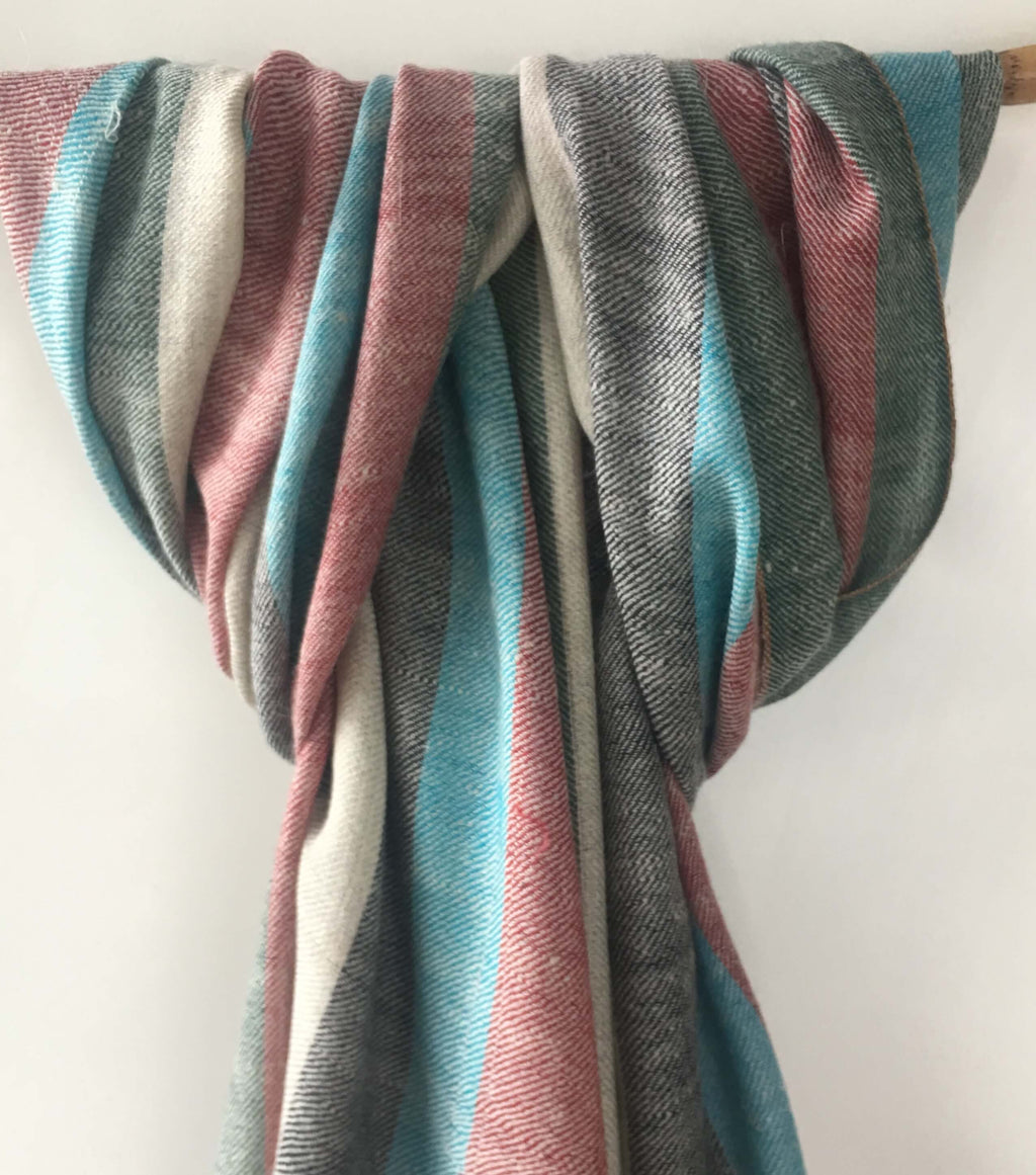 Pure Pashmina Scarf - Light Blue Stripes