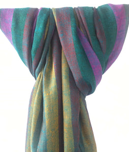 Pure Pashmina Scarf - Light Green Stripes