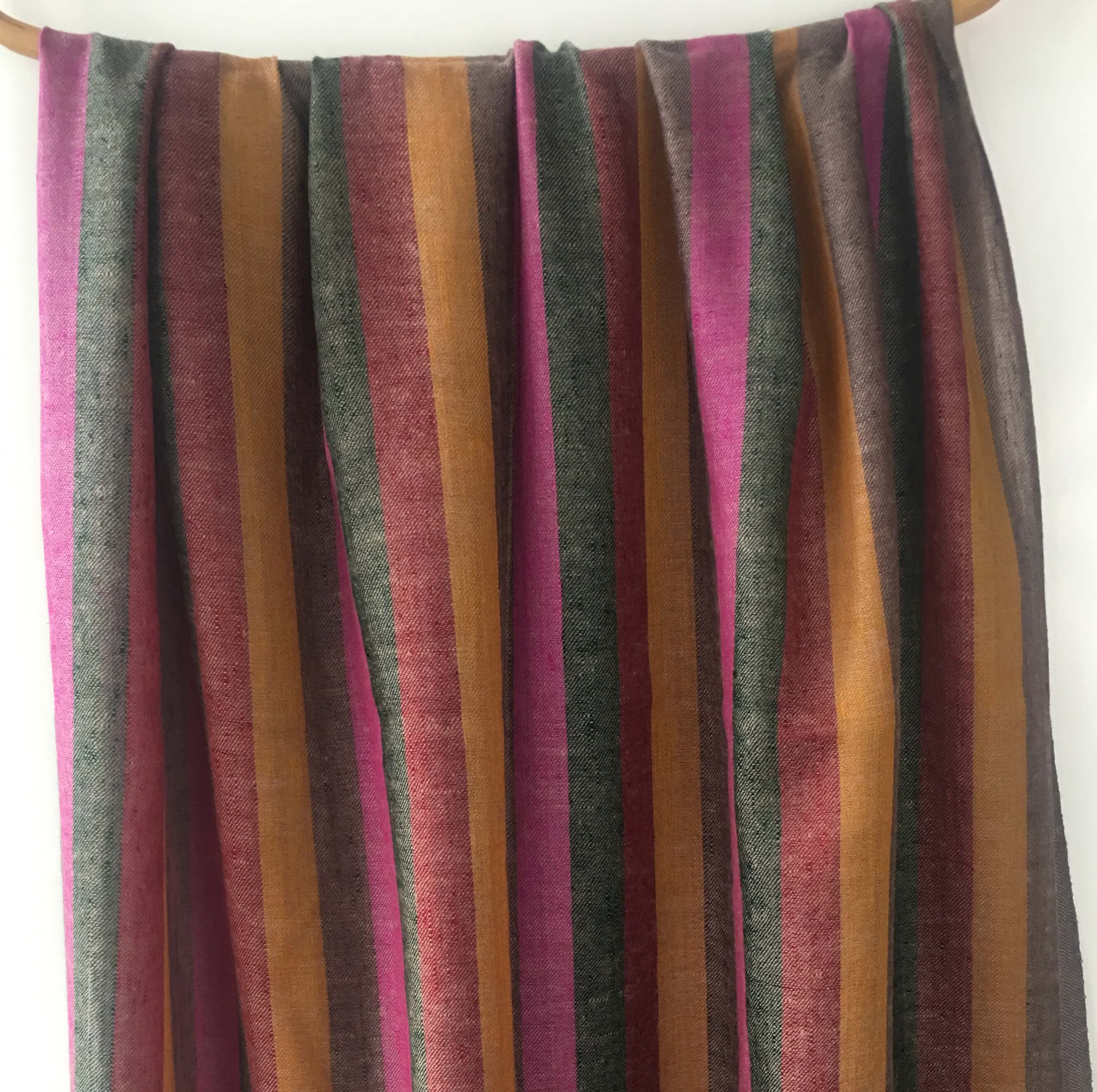 Pure Pashmina Scarf - Light Orange Stripes