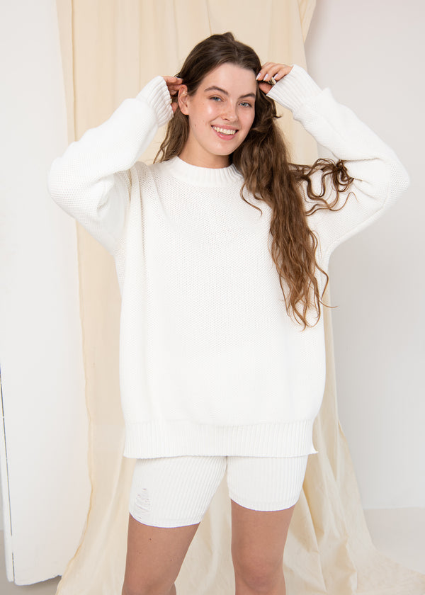 Oversized Unisex Jumper White