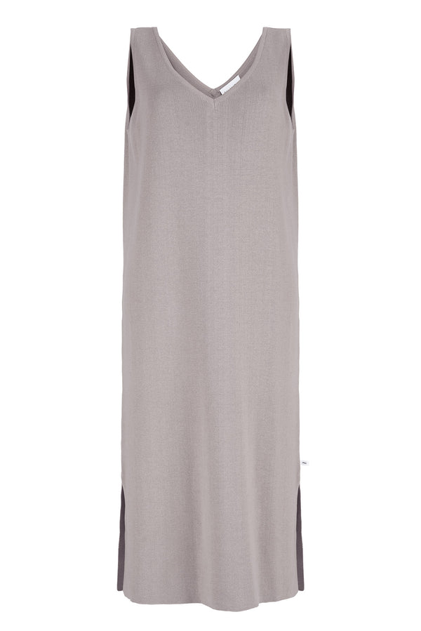 Knitted V-Neck Dress Grey