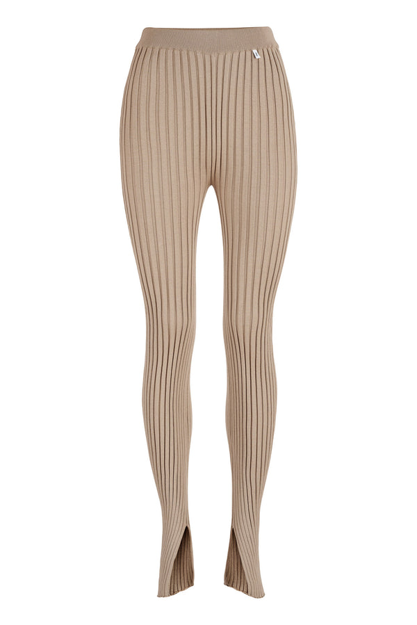 Ribbed Leggings Beige