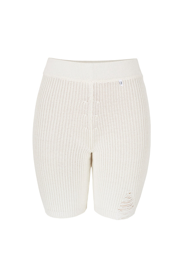 Ribbed Cycling Shorts White