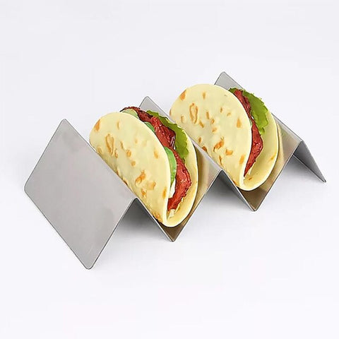 Stainless Steel Kitchen Tool Restaurant Food Display Holders Wave Shape Taco Holder Kitchen Food Rack Shell