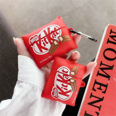 3D Kitkat cute Chocolate chip cookies Wireless Earphone case for Airpods 1 2 3 Pro box Bluetooth headset silicone luxury cover