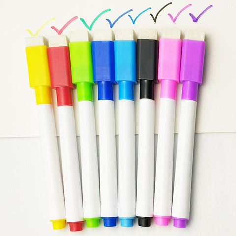 8 Pcs/lot Colorful black School classroom Whiteboard Pen Dry White Board Markers Built In Eraser Student children's drawing pen
