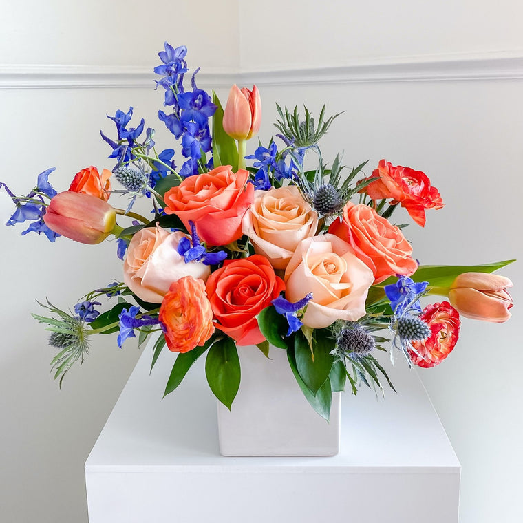 Sapphire and Orange Virtual Flower Workshop