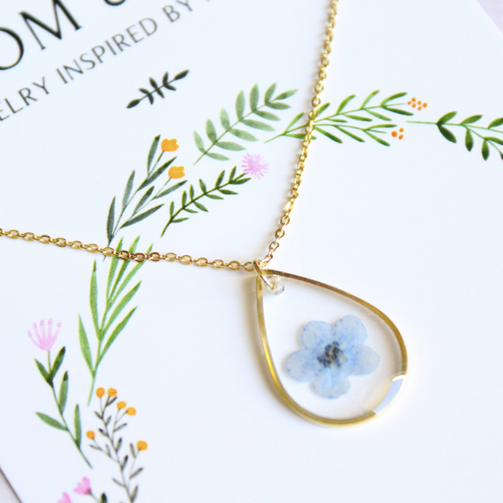 Blue Forget-Me-Not Gold Teardrop Necklace