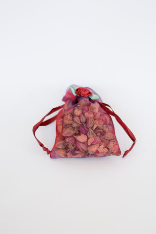 Organic Rosebud filled Sachet with Flowerette Red Sheer