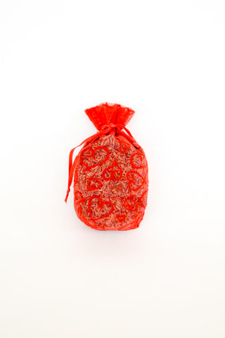 Organic Lavender Blossom Filled Sachet Red Sheer with Hearts