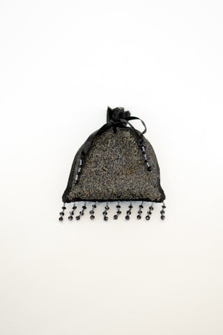 Organic Lavender Blossom Filled Sachet Velvet Jeweled Black