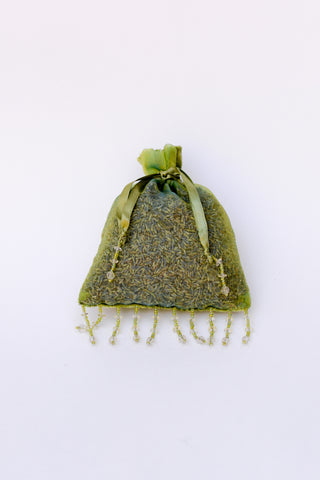 Organic Lavender Blossom Filled Sachet Jeweled Velvet Moss Green