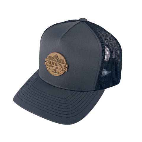 Gray & Black Wood Patch Trucker Hat