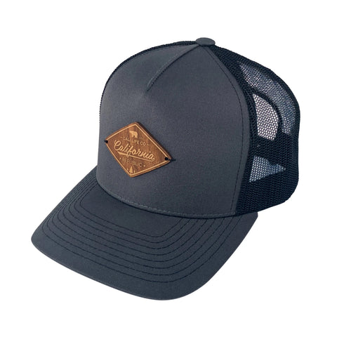 Dark Gray Wood Patch Trucker Hat
