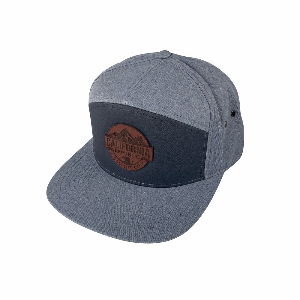 Dark & Light Gray Leather Patch 5-Panel Hat