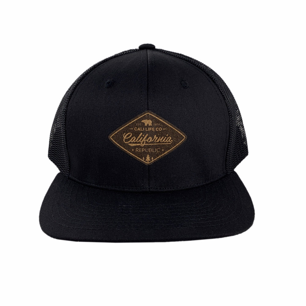 Black Cork Patch 6-Panel Trucker Hat