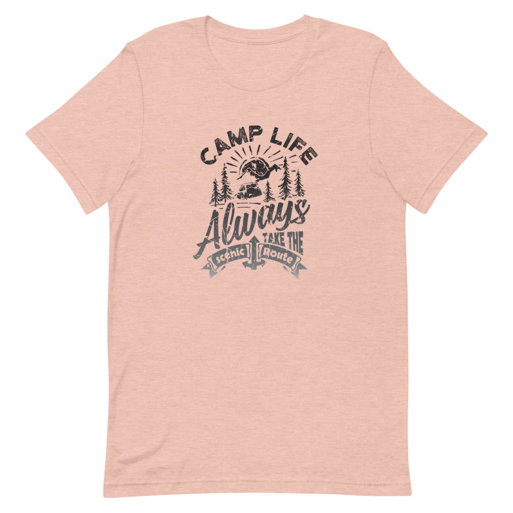 Camp Life Always Take the Scenic Route T-Shirt | Choose Peach/White