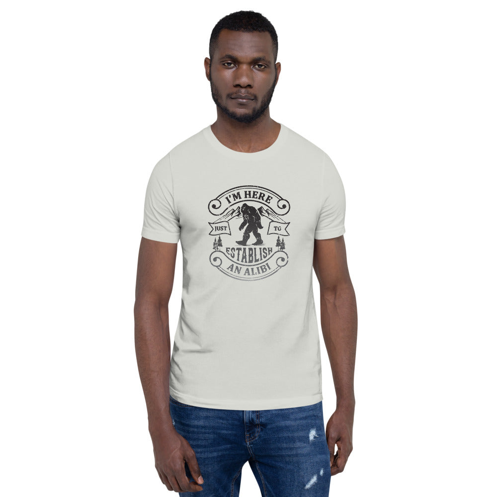 I'm Here Just to Establish an Alibi T-Shirt | Choose White/Silver