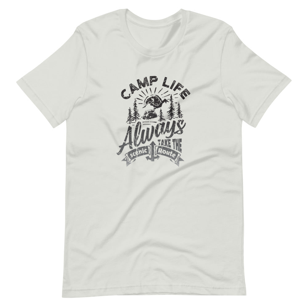 Camp Life Always Take the Scenic Route T-Shirt | Choose White/Silver