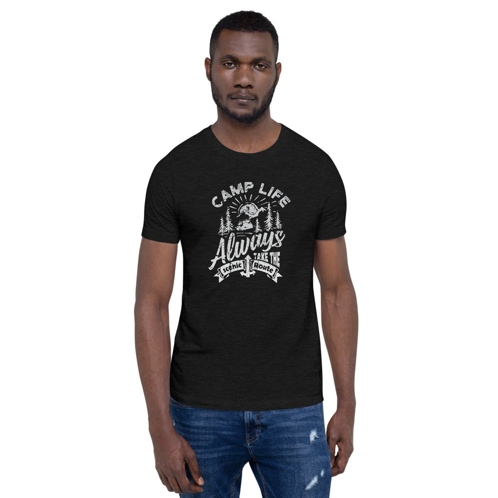 Camp Life Always Take the Scenic Route T-Shirt | Choose Heather Black/Gray/Forrest