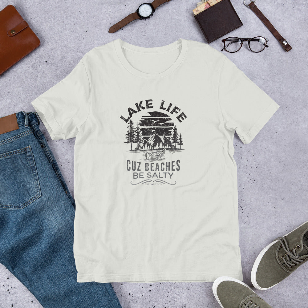 Lake Life Cuz Beaches Be Salty T-shirt | Choose White/Silver