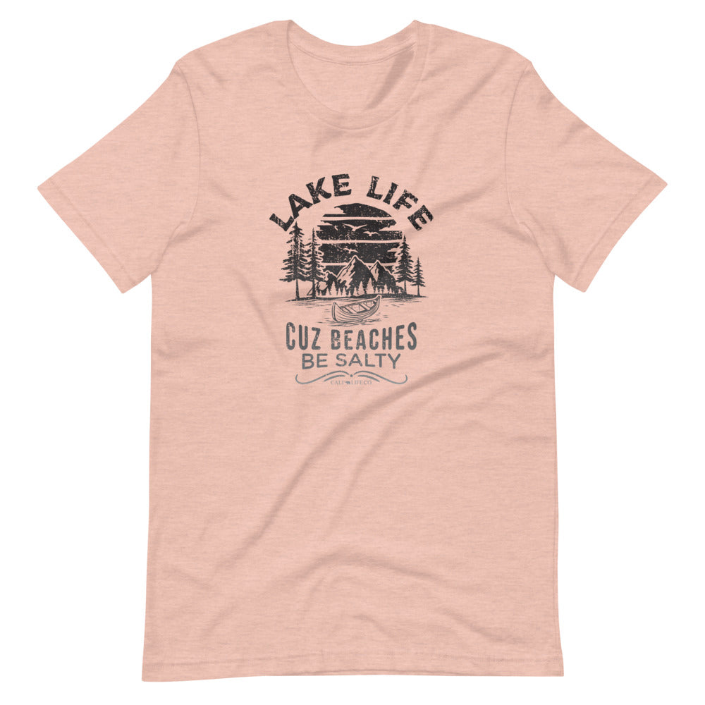 Lake Life Cuz Beaches be Salty T-Shirt | Choose White/Peach