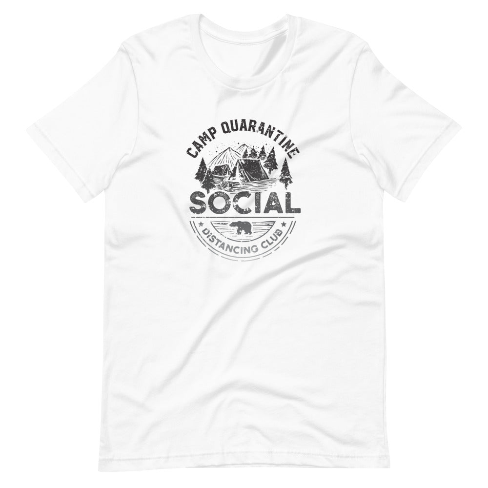 Camp Quarantine Social Distancing T-Shirt | Choose Heather Prism Peach/White