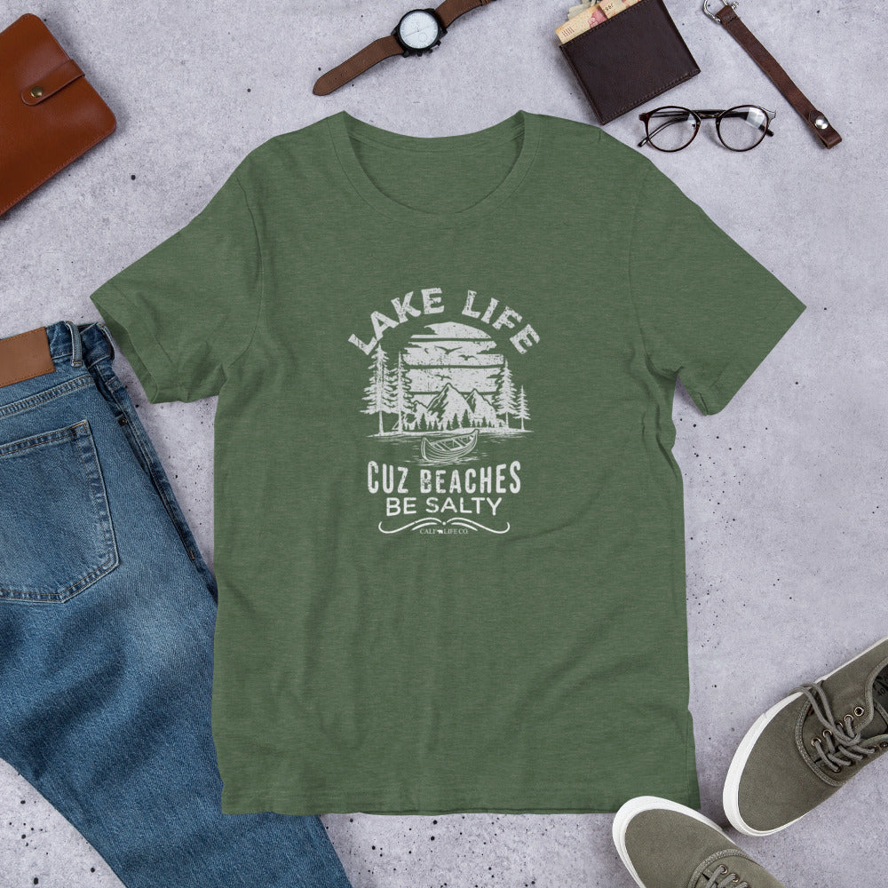 Lake Life Cuz Beaches Be Salty T-shirt | Choose Heather Black/Gray/Forrest