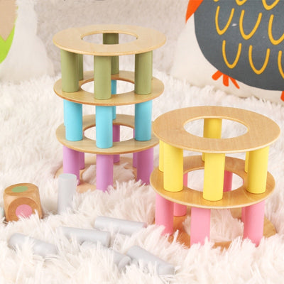 Stack-able Wooden Tower Game  - kidgenius education toys