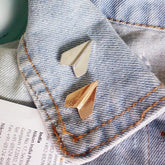 Metal Paper Plane Brooch Pin