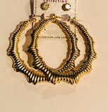 Bamboo Hoop Earring and Bling Stud Set Gold
