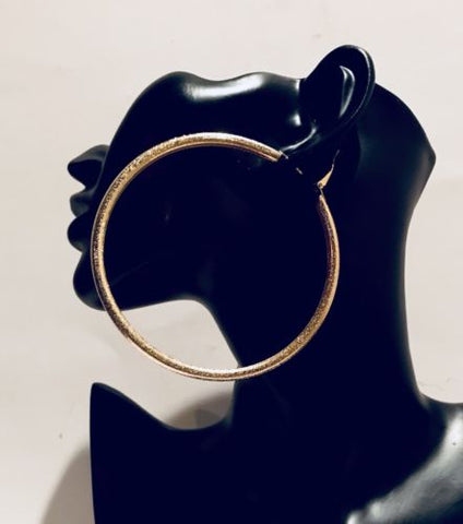 Big Champagne Gold Hoop Earring Set