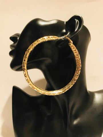 Big Gold Hoop Earrings 3.5 Inch With Heart Cutouts