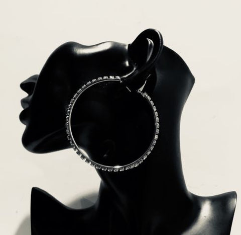 Big Rhinestone Bling Hoop 3 Inch Hoop Earrings