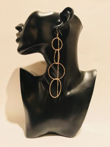 Big Long Dangle Hoop Gold Earrings
