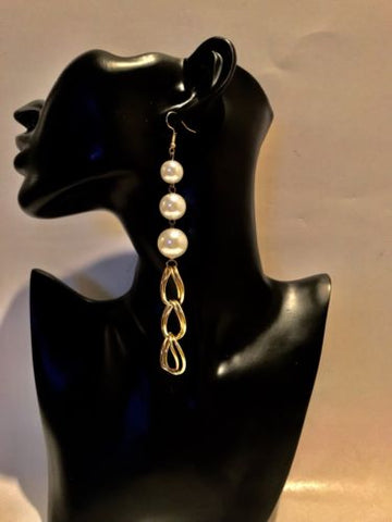 Big Long Dangle Hoop Pearl Earrings