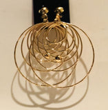 Big Clip On Gold Multi-Hoop Earrings