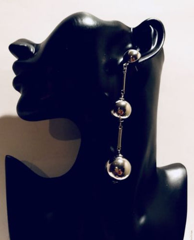Big Long Silver Dangle Ball Earrings