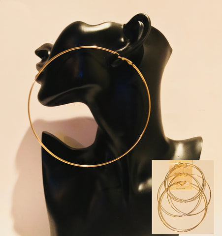 Big Gold Hoop Earring Set