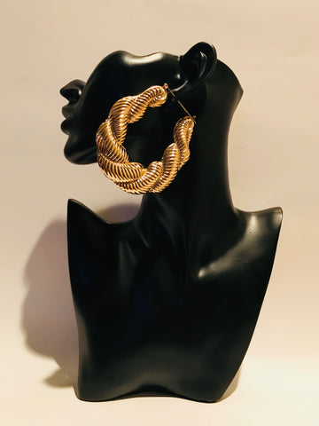 Big Gold Twisted Rope Hoop Earrings