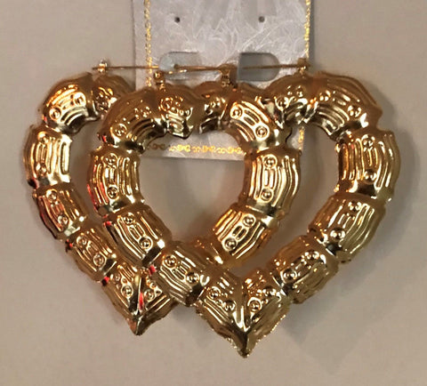 Gold Bamboo Heart Hoop Earrings - Best Earring 2017