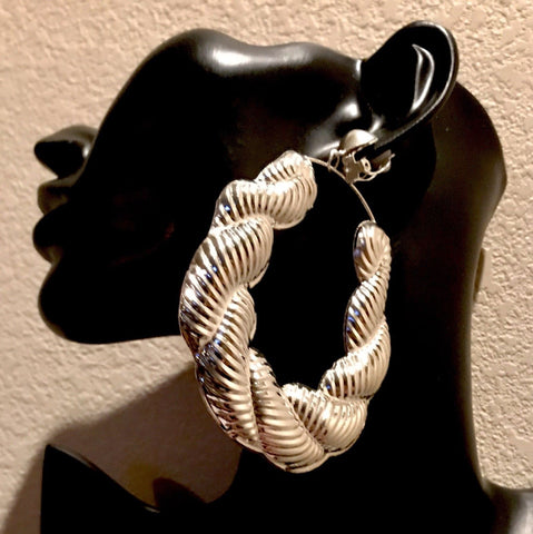 Turkish Rope Twisted Rope Big Silver Hoop Clip-On Earring