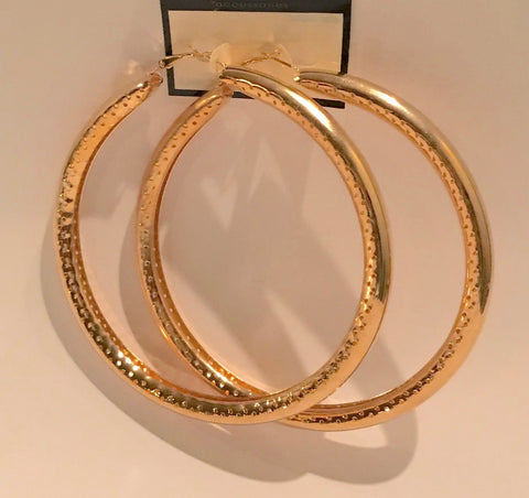 Extra Large 4 Inch Hoop Earrings Etched Bamboo Style Gold or Silver