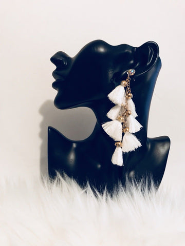 crystal white tassel earrings
