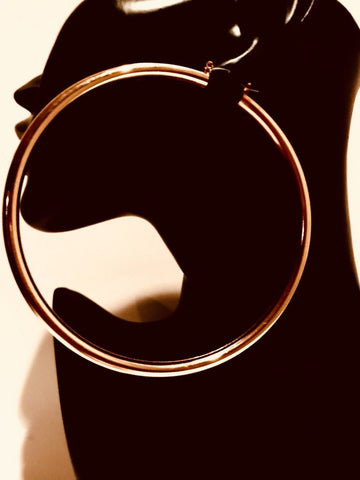 Big Rose Gold Hoop Earring 4 Inch