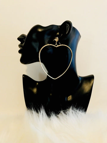 Heart Hoop Earrings With Stones Earring With Set With Bling Stud Pair