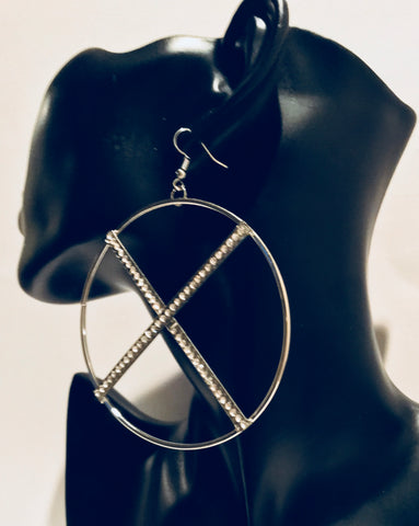 Big Silver Bling Hoop Dangle Long Earrings