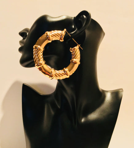 Big Gold Wide Bamboo Style Hoop Earring