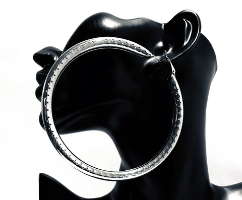 big silver etched bamboo hoop earring