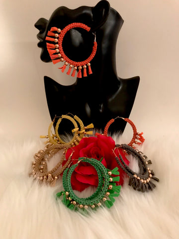 boho big faux suede hoop earrings